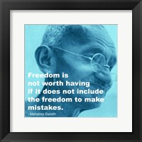 Gandhi - Freedom Quote Framed Print