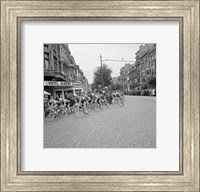 Framed Cyclists in action tour de france 1960