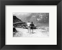 The Belgian Maurice Geldhof is climbing part of the Aubisque on foot. Tour de France 1928 Framed Print