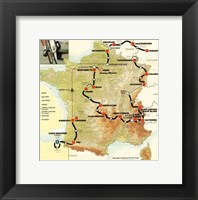 Framed Tour de France 1992 map