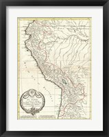 Framed 1775 Bonne Map of Peru, Ecuador, Bolivia, and the Western Amazon