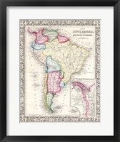Framed 1864 Mitchell Map of South America