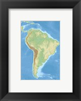 Framed South America relief location map