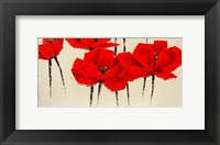 Framed Abstract Red Poppies