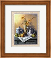 Framed Country Tea Set with Yellow Lilies