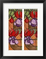 Framed 2-Up Stain Glass Floral III