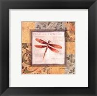 Framed Collaged Dragonflies II