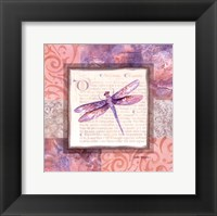 Framed Collaged Dragonflies III