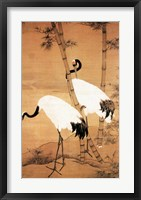 Framed Bian Jingzhao Bamboo and Cranes