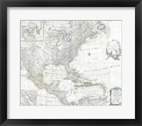 Framed 1788 Schraembl - Pownall Map of North America the West Indies