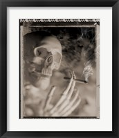 Framed Side profile of a skeleton holding a cigarette