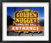 Framed Golden Nugget historic casino sign in the Neon Boneyard, Las Vegas