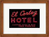 Framed Historic El Cortez Hotel neon sign, Freemont Street, Las Vegas