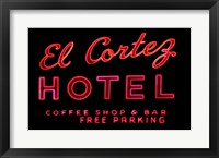 Framed Historic El Cortez Hotel neon sign, Freemont Street, Las Vegas