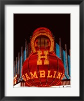 Framed Neon gambling sign on Freemont Street in historic Las Vegas