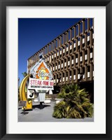 The Flame Restaurant sign Freemont street Las Vegas Framed Print
