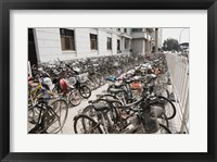 Framed Bicycles parked outside a building, Beijing, China
