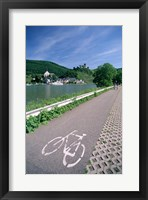 Framed Cycle, Bicycle Path and Two Cyclists, Town View, Beilstein, Mosel Valley, Rhineland, Germany