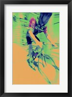 Framed Young man riding a bicycle - yellow