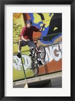 Teenage Boy Biking Framed Print