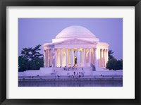 Framed Jefferson Memorial at dusk, Washington, D.C., USA