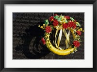 Framed Wreath on the Vietnam Veterans Memorial Wall, Vietnam Veterans Memorial, Washington, D.C., USA