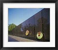 Wreaths on the Vietnam Veterans Memorial Wall, Vietnam Veterans Memorial, Washington, D.C., USA Framed Print