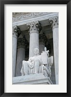 Framed Statue at a government building, US Supreme Court Building, Washington DC, USA