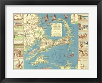 Framed 1940 Colonial Craftsman Decorative Map of Cape Cod, Massachusetts