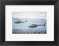 Framed left side view of an AH-1 Cobra helicopter, front, and an OH-58 Kiowa helicopter