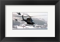 Framed Norwegian military Bell 412SP helicopters