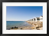 Beach huts in row, Cape Cod, Massachusetts, USA Framed Print
