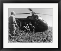Framed Korea, US Marine Corps, soldiers exiting military helicopter