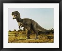 Framed Tyrannosaur Stealing The Kill Thescelosaur From Dromeosaurs
