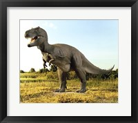 Framed Close-up of a tyrannosaurus rex standing in a field