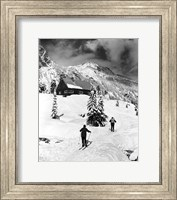 Framed Rear view of two people skiing, Washington, USA