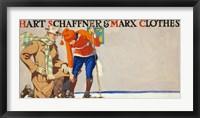 Framed Man kneeling beside woman on skis