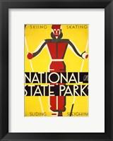 Framed National and state parks, skiing, skating, sliding, sleighing