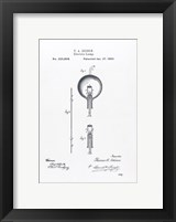 Framed Thomas Edison light bulb original patent drawing