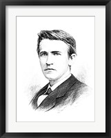 Framed Thomas A Edison etching