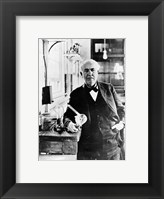 Framed Thomas Edison with the first light bulbs