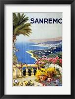 Framed San Remo, travel poster 1920