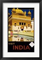 Framed Visit India, travel poster, 1935