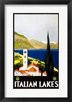 Framed Italian Lakes, travel poster, 1930