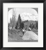 Framed Washington - Mount Rainier - resting at Camp Muir, before Gibralter Rock 1922