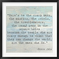 Framed Here's to the Crazy Ones, Steve Jobs Quote