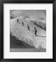 Framed Washington - Mount Rainier Toiling up a steep snowfield