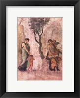 Framed La punizione di Amore Aphrodite Pompeii mural
