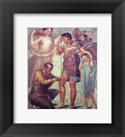 Framed doctor Japyx heals Aeneas, sided by aphrodite mural from Pompeii