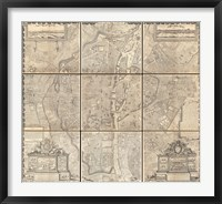 Framed 1652 Gomboust 9 Panel Map of Paris, France